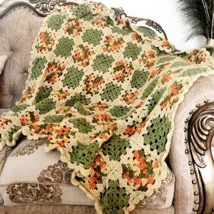 Handmade Boho Crochet Throw Quilt Scalloped Edges